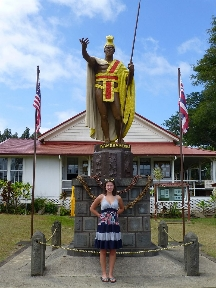 Maile at the K. Kamehameha Statue in Kapaau.